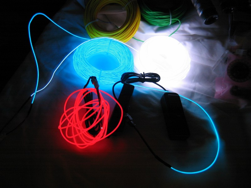 Electroluminescent wire in action.